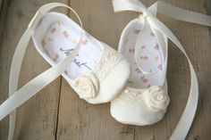 Baby girl IVORY ballerina shoes, dressy christening or baptism shoes with lace trim, flower and ribbons.