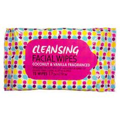 Cleansing Facial Wipes - Coconut and Vanilla, Pack of 15