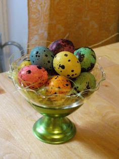 Dyed quail eggs - my godfather used to give me some every Easter when I was a kid. :)