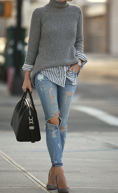 How to rock the casual chic look Casual Winter Outfits, Winter Fashion Outfits, Look Fashion, Autumn Fashion, Womens Fashion, Preppy Fall Outfits, 2000s Fashion, Fashion 2018, Fashion Online