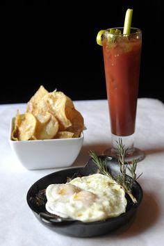 Duck-hash & cheddar chips - brunch
