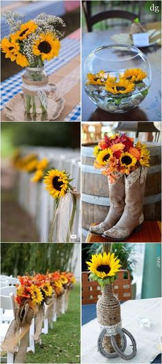 23 bright sunflower wedding decoration ideas for your rustic wedding! Sunflower Party Themes, Sunflower Wedding Decorations, Sunflower Centerpieces, Rustic Wedding Flowers, Rustic Wedding Centerpieces, Rustic Weddings, Western Weddings, Sunflower Weddings, Vintage Weddings
