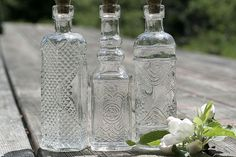 3 Clear Glass Bottles 5 Inches Tall Bottle by FestivalReGlass, $8.75