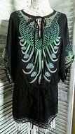Myan Kimono Type Sleeve Top Elastic/Tie Waist Colourful Peacock Embroidered Sz L