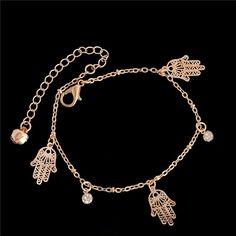 2016 trendy hamsa Anklet bracelet on the leg for women fashion gold chian on foot girl Beach ankle Bracelets jewelry