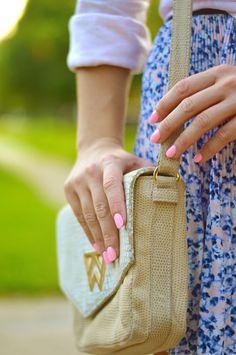 neutral purse + bright nails