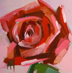 Red Rose original floral oil painting by Moulton by prattcreekart, $30.00