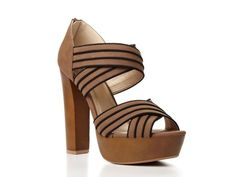 Striped Platform Sandal by Qupid - Wear with a solid colored maxi-dress or denim shorts and a t-shirt.