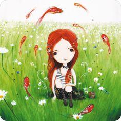 """Jehanne Weyman carte postale carrée (14 cm) """"Les poissons volants"""""""