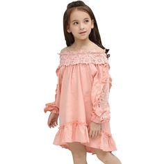 e3d7a5f2c5ba5 Kids girls Dresses summer fashion Children cotton Pink dress big girls  clothing Age 3 5 7 8 10 12 13 Years teenage girls costume. Tenues De Fille