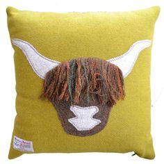 Hairy Coo Harris Tweed Cushion (Yellow)