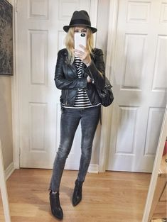 Leather Jacket, striped shirt, grey jeans, and fedora 429615746498