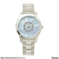 Ships Wheel Nautical Wristwatch 40% off #zazzle www.leatherwooddesign.com  #sale