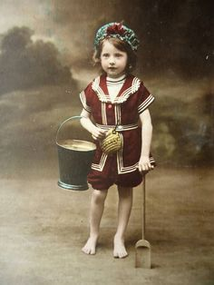 Antique sea postcard - Little girl child, Edwardian bathing suit, sea beach shore  sand, bucket spade hat, french hand tinted, 1900