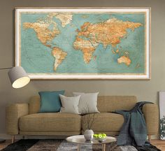 World map print World map fine reproduction Large world