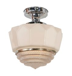 Classic Flush Mount Fixture With Faceted Lens Shade c1935 - perfect Art Deco style
