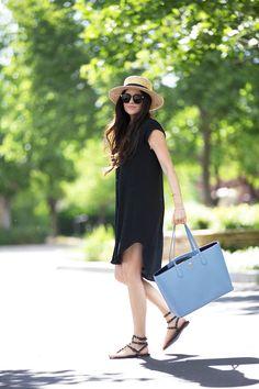 black dress, blue handbag, sandals, hat , sunglasses. Summer street #women #fashion outfit #clothing style apparel @roressclothes closet ideas