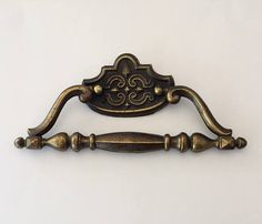 Drawer Door Handle Vintage French Gilt Bronze Napoleon III Piano Handle Victorian 19th Century Chateau Style Decorative Estate Sale Find
