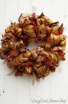 Fall Front Porch, Fall Deco Mesh Wreath, Winter Deco Mesh Wreath, Fall Wreath for Front Door, Winter Wreath Thanksgiving Wreaths, Christmas Wreaths, Christmas Decorations, Fall Deco Mesh, Deco Mesh Wreaths, Gold Christmas, Rustic Christmas, Wreaths For Front Door, Front Porch