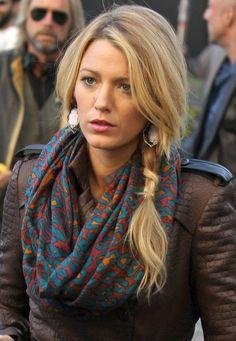 Blake Lively, Pretty side braid & scarf.