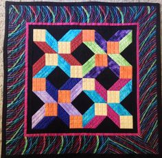 "Bright Dimensions, 25 x 25"", by Ruth Murayama.  25th anniversary auction quilt, Rocky Mountain Quilt Museum (2015)"