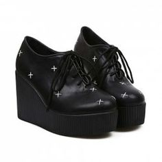 Wholesale Vintage Women's Black Wedge Shoes With Color Matching and Lace-Up Design (BLACK,39), Wedges - Rosewholesale.com