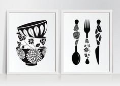 Art Print Set - Modern Kitchen or Dinning Room Art PrintS by FROM LUCY WITH LOVE http://www.etsy.com/listing/191146858/
