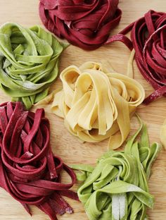 Homemade spinach and beet pasta