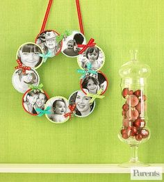 Take your pictures out of the frame and create a clever holiday decoration.                 What you'll need: 3-inch circle template, colored cardstock, pencil, scissors, 4x6-inch black-and-white photos, glue stick, decorative-edge scissors, 12- or 14-inch foam wreath form, crafts glue, jingle bells, ribbon, two T pins                 Make it: Use circle template to cut circles from card stock; cut faces from black-and-white photos into slightly smaller circles. Use a glue stick to attach…