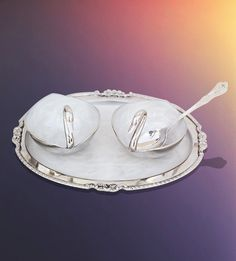 Trays with 2 Swans and Spoon,Indian Serving Bowls,Silver Fruit Bowl,Silver Tray | The Divine Luxury