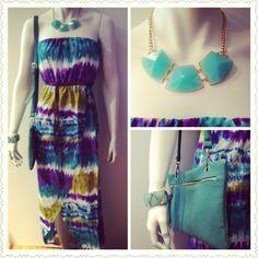 #summer #fashion #trend #apparel #accessories #green #purple ##white #tone #tie #dye #strapless #maxi #dress #thin #brown #braided #belt #aqua #faux #gemstone #statement #necklace #mint #gold #bracelet #clutch #boutikmika