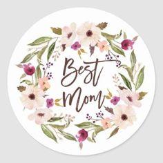 Pretty Floral Wreath Happy Mother's Day Classic Round Sticker   Zazzle.com Baby Shower Purple, Boho Baby Shower, Baby Shower Fall, Floral Baby Shower, Fall Baby, Mothers Day Classic, Floral Wreath Watercolor, Round Stickers, Happy Mothers Day