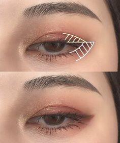 Korean Makeup Tips, Asian Eye Makeup, Edgy Makeup, Simple Eye Makeup, Cute Makeup, Korean Natural Makeup, Make Up Looks, Makeup Looks Tutorial, Ulzzang Makeup Tutorial