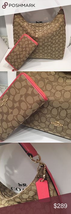 🎉Coach Signature Bag and Wallet Set🎉 Coach bag and wallet set! It's a brand new, %100 Authantic set! Also has crossbody strap.Comes with Coach gift box and gift receipt if you want! Coach Bags Shoulder Bags