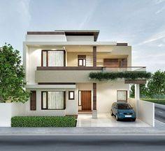 Architectural previsualization renders n 2 Storey House Design, Bungalow House Design, House Front Design, Modern House Facades, Modern Exterior House Designs, Modern House Design, Indian House Exterior Design, Modern Bungalow Exterior, Beautiful Modern Homes