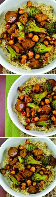 VEGAN CHICKPEA STIRFRY BOWL - broccoli, chickpea, corn, healthy, recipes, vegan