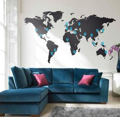 Wall Decal Large World Map 2.1 x 1.2 M / 7 x 4ft Vinyl Wall Sticker decal. £59.99, via Etsy.