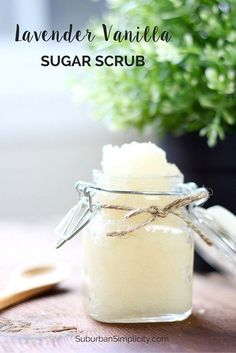 This Lavender Vanilla Sugar Scrub recipe is an easy DIY and makes a lovely gift idea. It's all natural and smells wonderful!   Homemade beauty product.