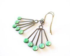 Green Chandelier Earrings - Art Deco Jewelry, Jadeite, Vintage Swarovski Rhinestones, Antiqued Brass, Gold Toned, Mint