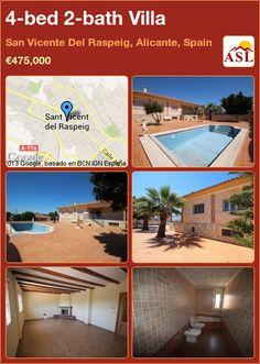 4-bed 2-bath Villa in San Vicente Del Raspeig, Alicante, Spain ►€475,000 #PropertyForSaleInSpain