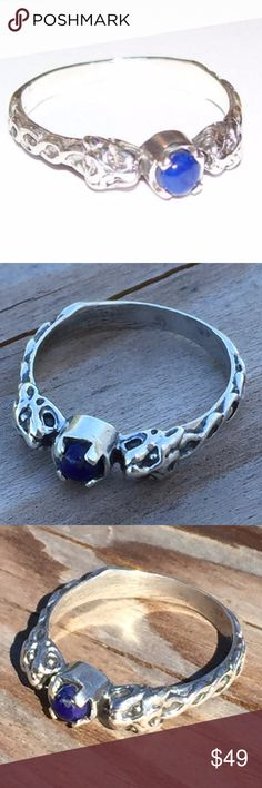 Lion Ring .925 Sterling Silver w/ Lapis Lazuli Price is firm. Two-headed Medieval Renaissance Celtic Lion Ring - Past & Future. Handcrafted in .925 Sterling Silver in the USA. Features an authentic, natural Lapis Lazuli gemstone. This ring is 1/8 of an inch in height. This item ships in 3 - 4 days. Wellstone Jewelry Jewelry Rings