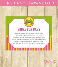 Instant Download Frog Book Request Frog Book in Lieu of Card Frog Theme Baby Shower Games for Girl One Small Request Pink Green Yellow by TppCardS #tppcards