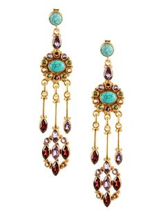 Buy Turquoise Indigo Red Golden Silver Earrings Sterling Semi Precious Stones Jewelry Imperial Blues Gold Plated Online at Jaypore.com