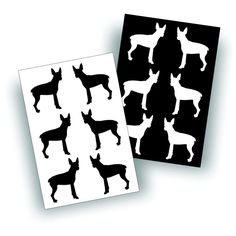 """TWO DECAL SHEETS of MINIATURE PINSCHERS ! - Black and White. These decals have only the design cut in vinyl with """"empty space"""" everywhere else. There is application tape on the surface. Peel the backing, apply the decal in place, rub/squeegee, then remove the tape on the surface leaving the vinyl decal in place. 