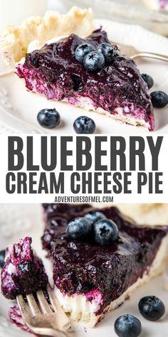 Blueberry Cream Cheese Pie, Blueberry Pie Recipes, Cream Pie Recipes, Blueberry Desserts, Tart Recipes, Blueberry Cheesecake Pie, Blueberry Tarts, Fresh Blueberry Pie, Cheesecake Strawberries