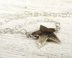 Sterling Silver Star Ankle Bracelet Silver Chain Hammered Star  | WestWindCreations - Jewelry on ArtFire