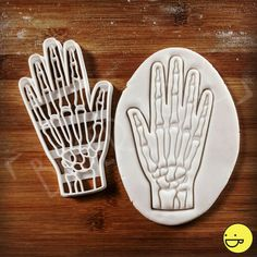 Anatomical Human Hand and Wrist bone cookie cutter | biscuit cutter | palm skeleton anatomy | one of a kind Halloween Macabre | ooak by Made3D on Etsy https://www.etsy.com/ca/listing/287557131/anatomical-human-hand-and-wrist-bone