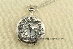 silver Alice in Wonderland Pocket Watch Necklace por katrinakishi