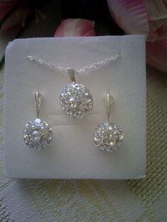 Moonlight Swarovski crystal sterling silver jewelry set.