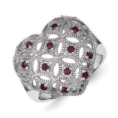 Parker Jewelers. Sterling Silver Multi Ruby Ring. (QR4418). Call (856)935-3400 to order today!
